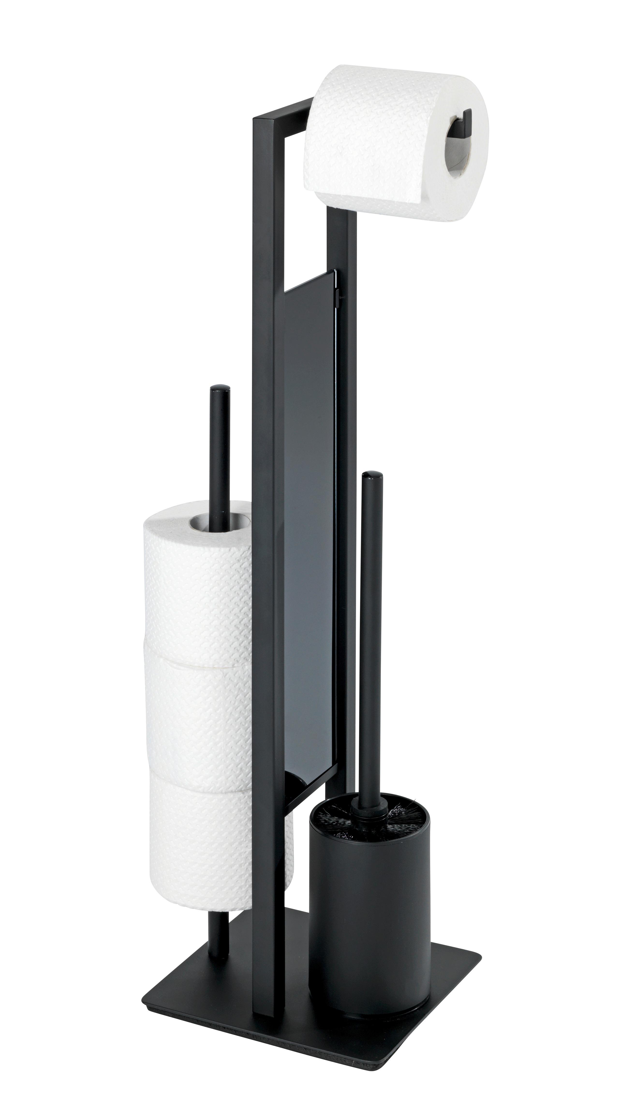 Color Blanco Portaescobillas para el WC Wenko Juego de Pie para el WC Rivalta 18 x 70 x 23 cm Acero